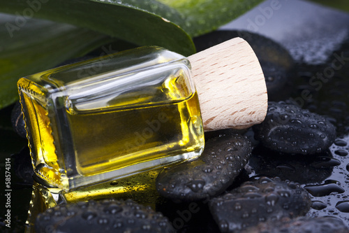 bottle of massage oil spa