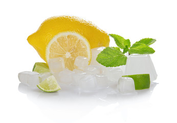 Lemon, slices of a juicy lime, mint and the ice