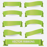 Fototapety green ribbon banners eps10