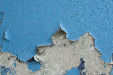 cracked blue painted wall background