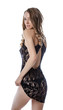 Playful young model shows lacy negligee - 58575957