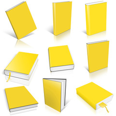 Nine yellow empty book template