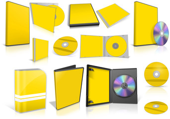 Yellow multimedia disks and boxes on white