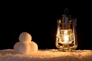 Snowballs and lantern