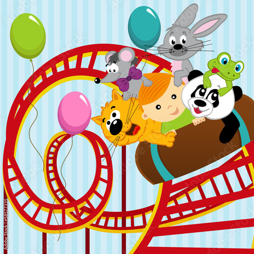 roller coaster boy and animals - vector illustration