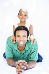 Father and daughter on white background