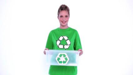 Environmental activist holding plastic box