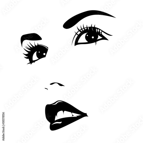 Beautiful young woman portrait. Vector illustration. - 58578156