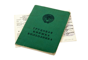 Russian service record of farmer and tractor driver's license is