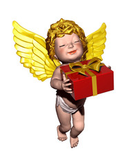 little cherub angel with gift