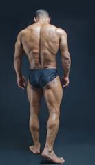 Full back figure of muscular bodybuilder