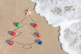 Fototapety Christmas tree contour with decorations, star and wave on the be
