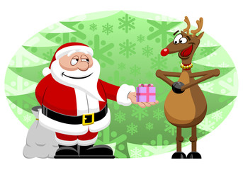 Santa Giving Christmas Gift To Happy Reindeer