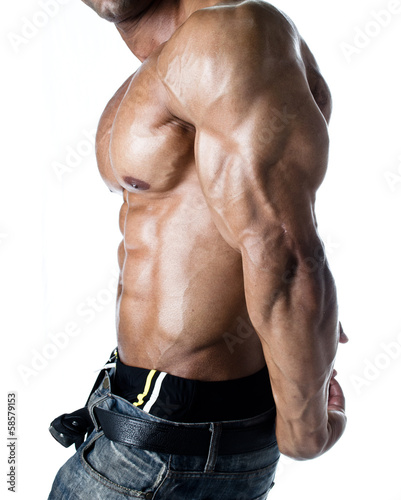 Detail of bodybuilder torso: abs, pecs, tricep and arm