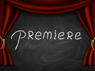 """Caption """"premiere"""" written on the board with stage curtains."""
