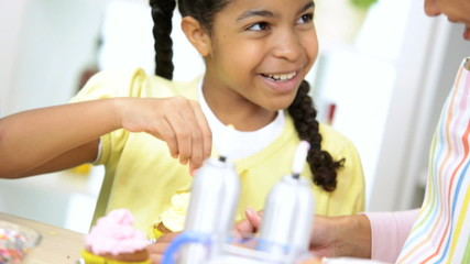 Little Ethnic Girl Fun Home Baking Lesson Close Up