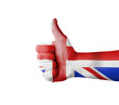 Hand with thumb up, UK (United Kingdom) flag painted