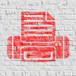 Red Printer Icon on White Brick Wall.