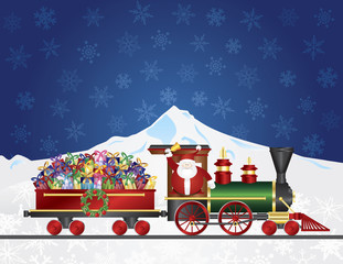 Santa Claus on Train with Presents on Night Snow Scene