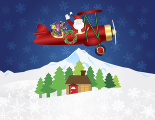 Santa Claus on Biplane with Presents on Night Snow Scene