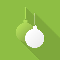 Christmas balls icon with long shadow on light green background