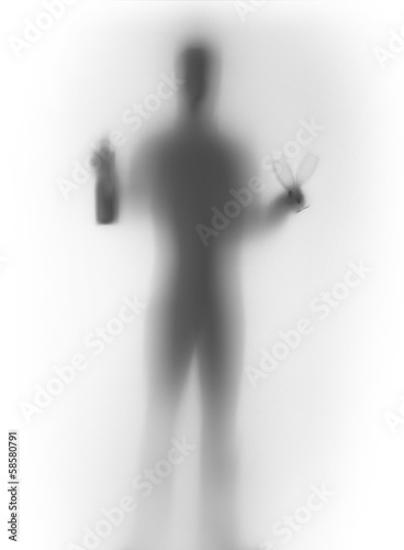 Human male body silhouette, with bottle and glasses - 58580791