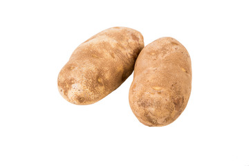Two Potatoes Isolated on White