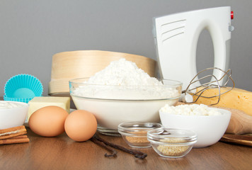 Flour, dairy products, eggs, spices and mixer