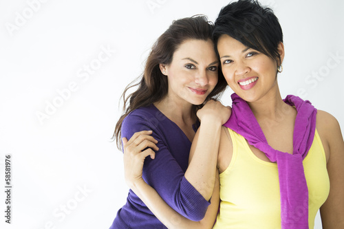 Same sex couple on white background