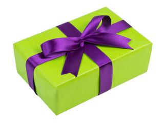 Geschenk mit lila Schleife