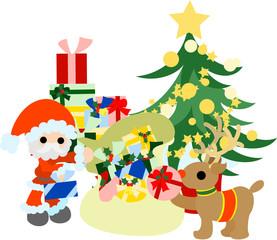サンタクロースがトナカイと一緒にクリスマスプレゼントの準備をしています。