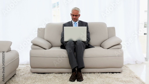 Smiling businessman using laptop on the couch