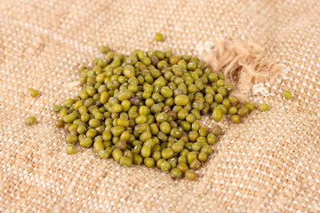 mung beans on sackcloth background