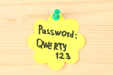 Sticker-reminder with most popular password,
