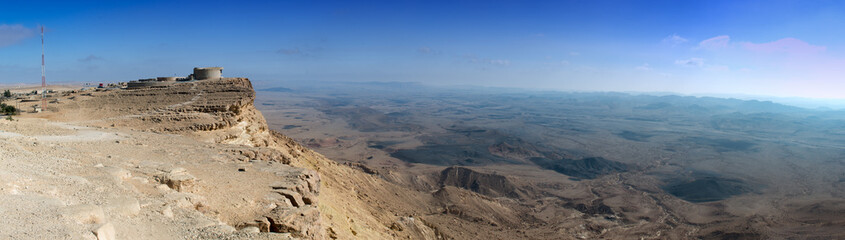 Panoramic view on the Ramon crater, desert of the Negev, Israel