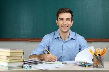 Young teacher working in school classroom