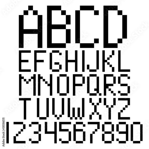 Pixel alphabet and numbers vector
