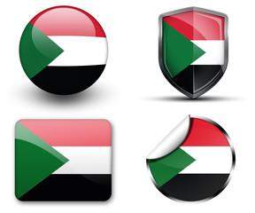 Sudan flag button sticker and badge