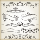 Vintage calligraphic vector design elements