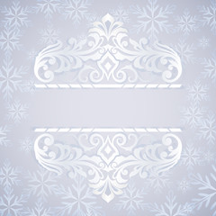Christmas blue and white ornate card