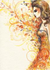 Beautiful autumn  woman. watercolor illustration