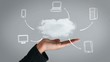 Hand presenting cloud and business plan