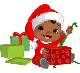 Christmas baby open gift