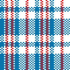Chinese woven checkered bag seamless pattern in blue and white