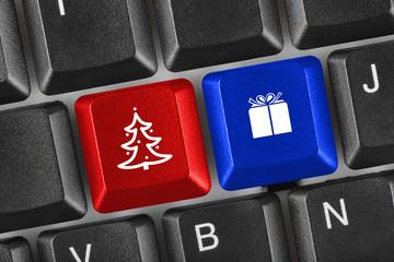 Computer keyboard with Christmas keys