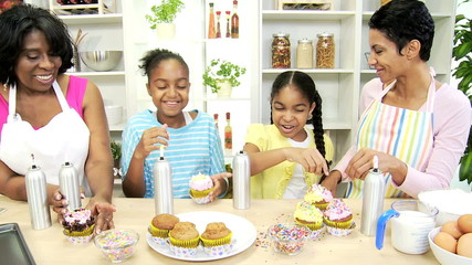 Happy Ethnic Young Girls Kitchen Baking Family