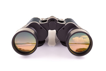 black binoculars and beach isolated on a white background