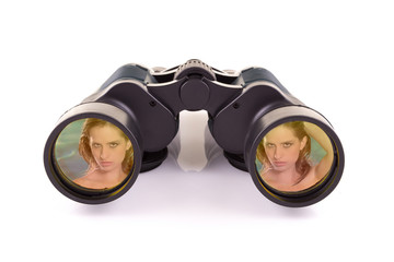 black binoculars and woman isolated on a white background