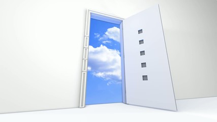 Opened to sky door
