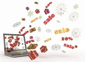 Concept of Christmas online shopping. 3d illustration.
